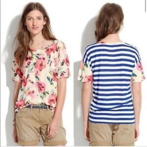 MADEWELL BLUE STRIPED FLORAL TOP
